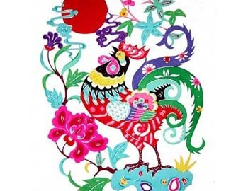 Rooster Papercut Color I