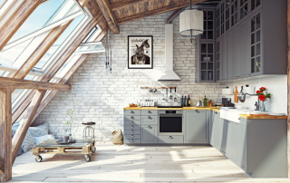 large sunfilled kitchen windows