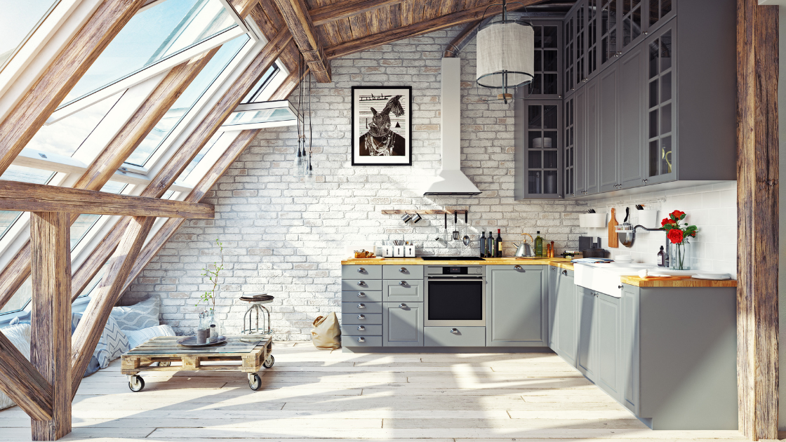 large sunfilled kitchen windows